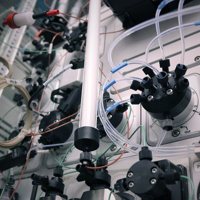 Close-up of fluidic valves on a GE Akta chromatography unit